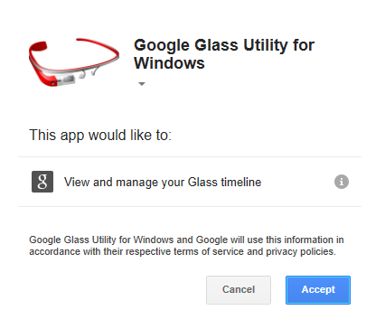 Google and allow this application to manage your Glass timeline